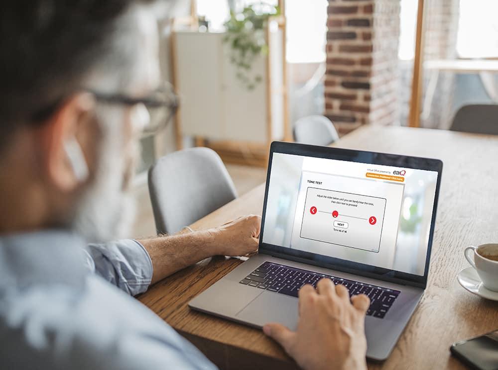 Man using virtual office online